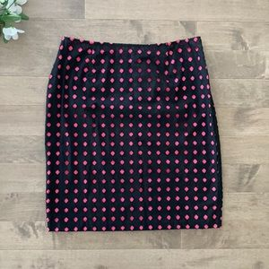 Tribal Pencil Skirt Black and Pink Cotton Size 10